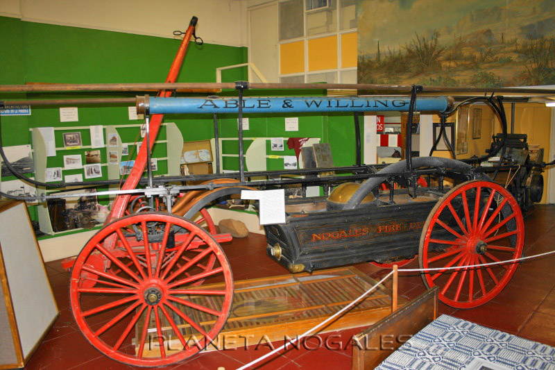 Antique fire-fighting vehicle on display at the Pimaria Alta History Museum in Nogales, Arizona