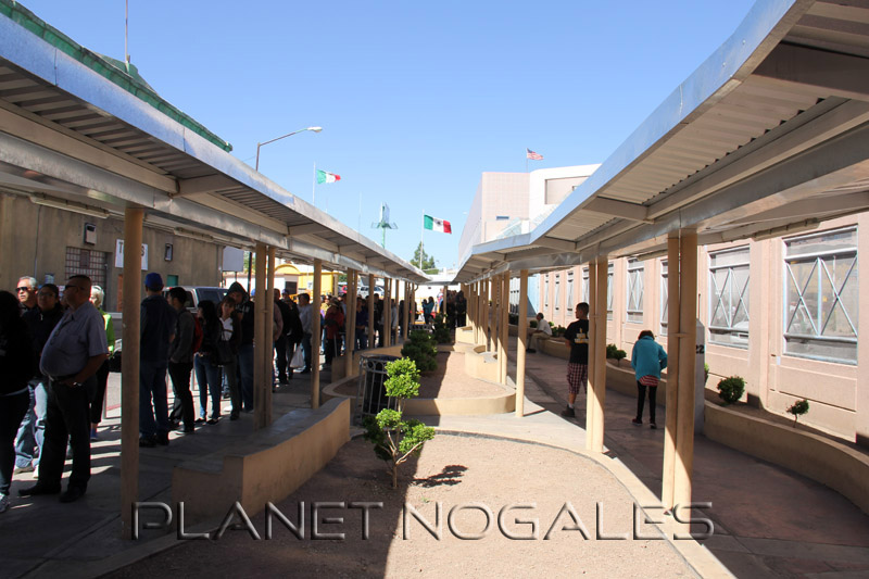 Waiting to cross the border at the Nogales Morley pedestrian border crossing