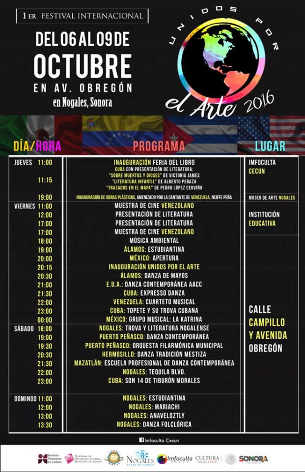 Event program for Festival Unidos por el Arte in Nogales, Sonora