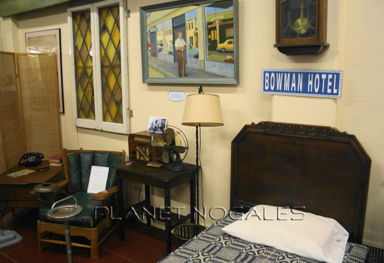 Re-creation of a Bowman Hotel room at the Pimeria Alta History Museum in Nogales, Arizona