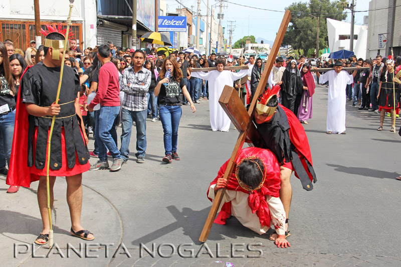 Annual Good Friday passion play procession in Nogales, Mexico
